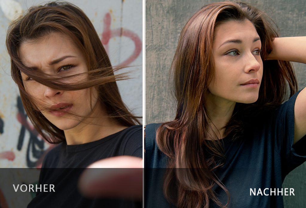 Effekte des Haaröls Nanoil - vorher und nachher